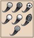 Set Of Vector Pattern For Design With Flying Sports Balls Stock Images - 79657704