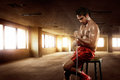 Man Asian Boxer Sitting With Wearing White Strap Stock Photo - 79667090