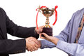 Asian Business Man Shake Hand And Receive Golden Trophy Stock Photography - 79678282