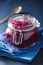 Pickled Red Cabbage In Glass Jar Stock Photos - 79680003
