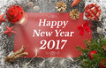 Happy New Year Greeting With Christmas Tree, Gift, Decorations Stock Images - 79680664