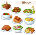 Set Of Food Icons Isolated On White Background. Dinner Royalty Free Stock Image - 79688726