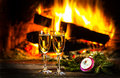 Two Glasses Of Wine And Christmas New Year Decoration, Fireplace Stock Image - 79691491