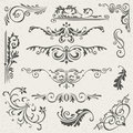Flourish Border Corner And Frame Elements Collection. Vector Card Invitation . Victorian Grunge Calligraphic. Wedding Royalty Free Stock Photography - 79691717