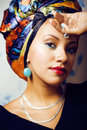 Beauty Bright African Woman With Creative Make Up, Shawl On Head Royalty Free Stock Photography - 79697227