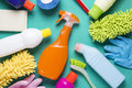 House Cleaning Product On Colorful Background Stock Images - 79705864