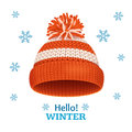 Knitted Woolen Hat For Winter Season Card. Vector Stock Image - 79714881