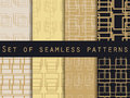 Set Seamless Patterns With Lines And Squares. Gold And Black Color. Vector Illustration. Royalty Free Stock Photos - 79719248
