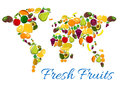 Fresh Fruits Icons In World Map Shape Royalty Free Stock Photos - 79720188