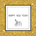 Happy New Year, Christmas Greeting Card With Gold Glitters, Line Icons, Celebrating Symbols Royalty Free Stock Photography - 79726617