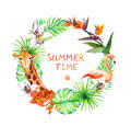 Tropical Leaves, Exotic Flamingo, Giraffe, Orchid Flowers. Wreath Frame. Watercolor Stock Images - 79731674