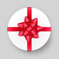 White Round Gift Box With Red Bow And Ribbon Stock Image - 79732901