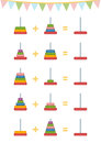 Counting Game For Children. Addition Worksheets, Toy Pyramid Royalty Free Stock Photography - 79734117