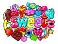 Kawaii Print With Sweets And Candies. Crazy Sweet-stuff In Cartoon Style Stock Image - 79735691