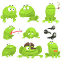 Green Frog Funny Character Set Of Different Emotions Stock Images - 79735934