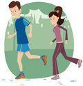 Jogging Couple In Park Royalty Free Stock Image - 79743146