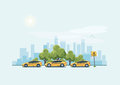 Parking Taxi Cars And City Background Stock Image - 79743871