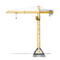 Rendering Of Yellow Tower Crane Full-height Isolated On The White Background. Royalty Free Stock Image - 79747316