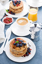 Fluffy Chocolate Chip Pancakes For Breakfast Stock Image - 79749731