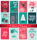 Collection Of Nine Christmas Cards With Hand Drawn Elements. Royalty Free Stock Images - 79750999