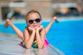 Little Happy Girl In Outdoor Swimming Pool Enjoy Her Vacation Stock Photography - 79760202