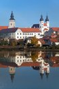 Morning View Of Telc Or Teltsch Town Mirroring In Lake Stock Photos - 79760503
