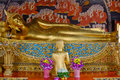 Reclining Buddha Gold Statue And Thai Art Architecture In Wat Bovoranives, Bangkok, Thailand. Royalty Free Stock Photography - 79769457