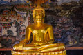 Golden Buddha Statue And Thai Art Architecture In Wat Bovoranives, Bangkok, Thailand. Royalty Free Stock Photos - 79769508
