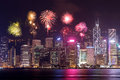 Fireworks Festival Over Hong Kong City Royalty Free Stock Photography - 79771937