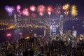 Fireworks Festival Over Hong Kong City At Night Royalty Free Stock Photography - 79772177
