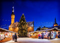 Christmas In Tallinn. Holiday Market At Town Hall Square Stock Images - 79774744