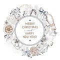Vector Hand Drawn Greeting Card. Merry Christmas And Happy New Year. Winter Seasoning. Vintage Engraved Art. Royalty Free Stock Photography - 79779157