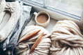 Winter Knitting By The Window Stock Photos - 79784133
