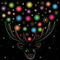 Colorful Shinning Snowflakes  Between Deers Horns. Hand Drawn Rainbow Colored Silhouette Of Reindeer. Perfect For Festive Design Royalty Free Stock Photos - 79791078