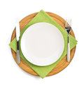 Plate And Fork With Knife At Napkin Royalty Free Stock Photos - 79795378