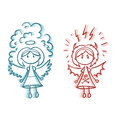 Angel And Demon Sketch, Vector. Stock Photography - 79798472