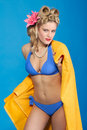 Cute Fifties Style Pin-up Girl With Towel Stock Images - 7980294