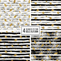 Set Of Gold Autumn Seamless Pattern With Leaves Royalty Free Stock Photo - 79803315