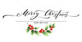 Merry Christmas Lettering Card With Holly. Vector Illustration Royalty Free Stock Photography - 79812237