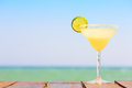 Margarita Cocktail On The Wooden Pier. Concept Of Classic Drink. Stock Image - 79855801