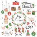 Christmas Set Graphic Elements With Wreath, Cake, Gingerbread House, Mittens, Toys, Gifts And Socks. Stock Images - 79855894