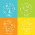 Seasons. The Weather In Winter, Spring, Summer And Autumn. Round Modern Emblems Weather All Seasons. Royalty Free Stock Photography - 79867837