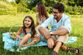 Family On Picnic. Happy Young Family Having Fun In Nature Royalty Free Stock Photos - 79867868