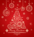 Vintage Greeting Christmas Red Card With Decorative Lacy Tree And Hanging Baubles Stock Photo - 79868760