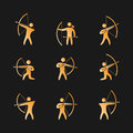 Silhouettes Of Figures Archer Icons Set Royalty Free Stock Image - 79876316