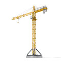 Rendering Of Yellow Tower Crane Full-height Isolated On The White Background. Royalty Free Stock Photos - 79878468