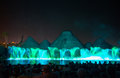 Singing Fountains. Glowing Colored Fountains And Laser Show. Royalty Free Stock Images - 79883709