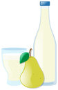 Fresh Pear And Juice In Two Containers Stock Images - 79891544