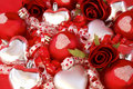 Red Satin Balls, Silver Hearts With Roses And Ribb Stock Images - 7992124