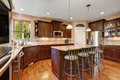 Well Remodeled Kitchen Room Interior With Dark Wood Cabinets Stock Photos - 79902543